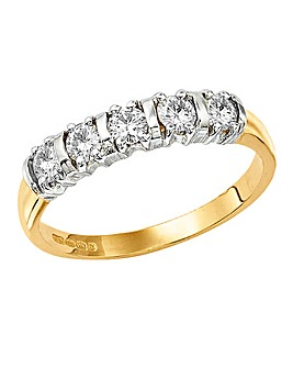 Moissanite 1/2 Carat Half Eternity Ring