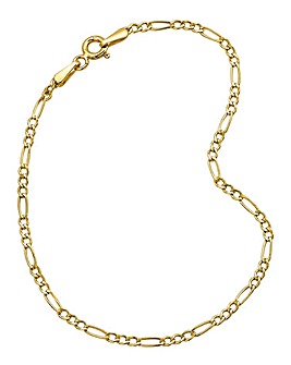 9 Carat Gold 7inch Figaro Bracelet