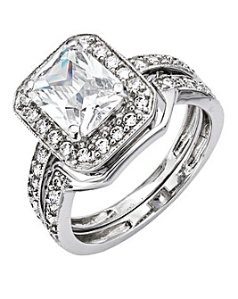 Cubic Zirconia Square Two-Piece Ring Set