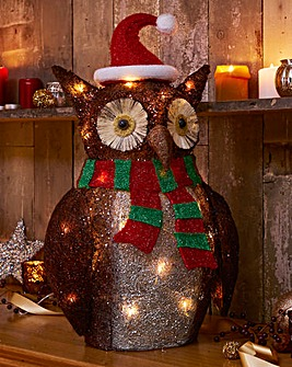 Festive LED Brown Sisal Owl