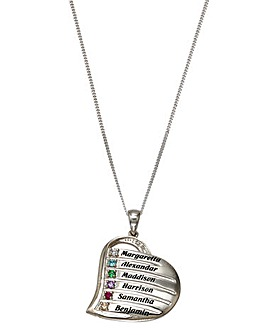 Personalised Heart Six Name Pendant