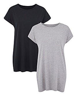 Black/Grey Pack of 2 Boyfriend Tshirts