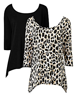 Black/Animal Pack of 2 Hanky Hem Tops