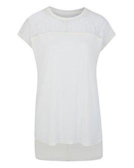 Ivory Lace Yoke Dip Back T-shirt