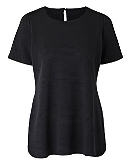 Black Textured Jersey Shell Top