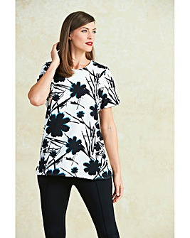 Floral Textured Jersey Shell Top
