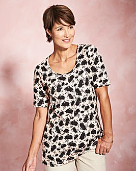 Black Floral Half Sleeve Jersey Tunic
