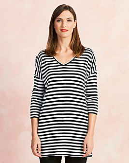 Ivory/Black Stripe V-Neck Slouch Tunic