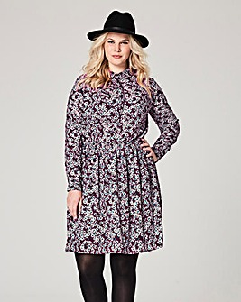 Berry Print Skater Shirt Dress