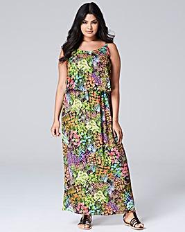 Black Floral Layer Maxi Dress