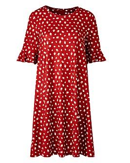 Henna Floral Frill Jersey Swing Dress