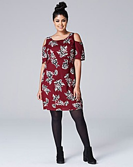 Berry Print Cut Out Shoulder Dress