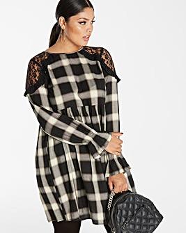 Black/Ivory Check Smock Dress