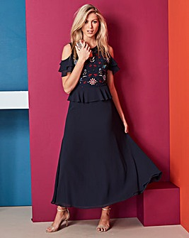 Embroidered Peplum Maxi Dress