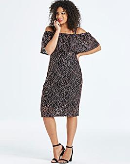 Lovedrobe Lace Bardot Dress with Ruffle