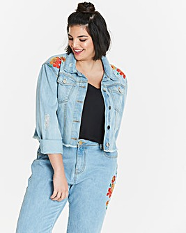 Neon Rose Embroidered Denim Jacket
