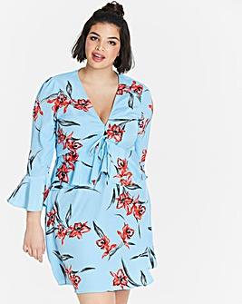 Neon Rose Tie Front Peplum Dress