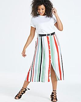 Neon Rose Striped Midi Skirt