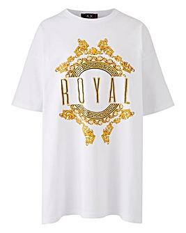 AX Paris Curve Printed Royal Tee