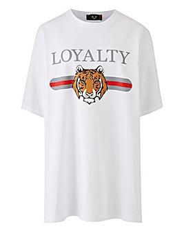 AX Paris Curve Tiger Printed Tiger Tee
