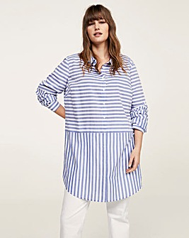 Violeta by Mango Stripe Longline Shirt