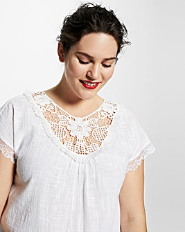 Violeta by Mango Crochet Detail Top