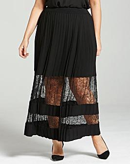 Elvi Lace-Panel Maxi Skirt