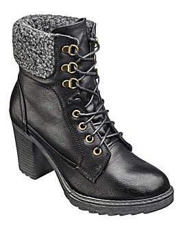 London Rebel Lace up Boots E Fit