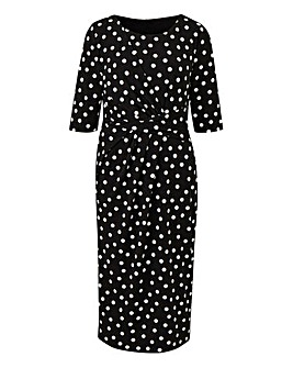 Spot Print Twist Knot Dress