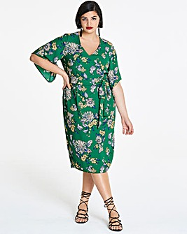 Floral Print Kimono Sleeve Dress