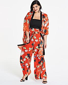 Orange Floral Print Kimono