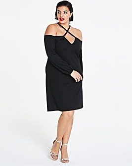 Cross Strap Bardot Shift Dress