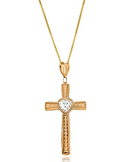 9 Carat Gold Crystalique Cross Pendant