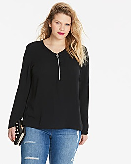 Black Zip Front Blouse