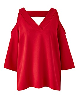 Red V-Neck Cold Shoulder Blouse