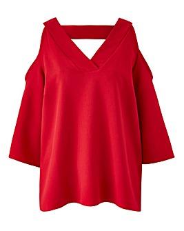 Red V-Neck Cold Shoulder Blouse