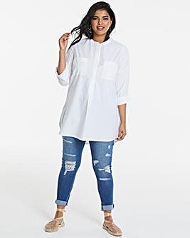 White Longline Tunic Shirt