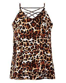 Animal Print Cross Back Strappy Cami