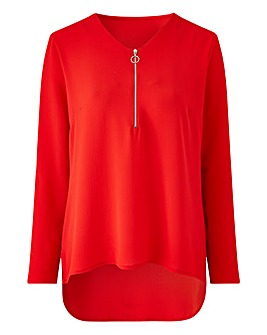 Red Zip Front Blouse