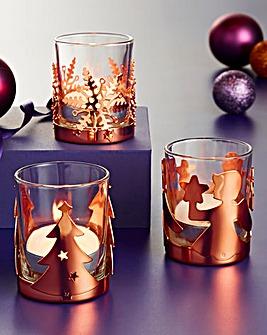 Set of 3 Christmas Tealight Holders