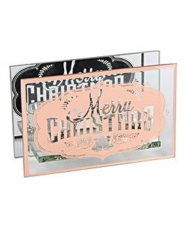 Merry Christmas Copper Tealight Holder