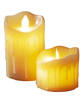 Moving Flame Candle with Timer Set of 2
