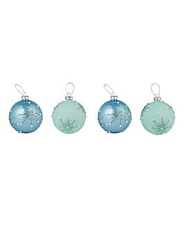 Set of 4 Pastel Blue Starburst Baubles