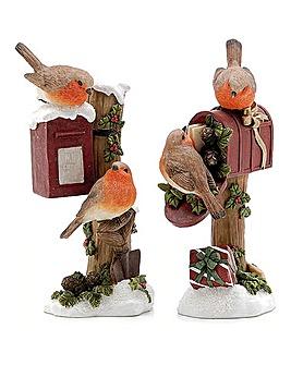 Set of 2 Robins Sat on Post Box
