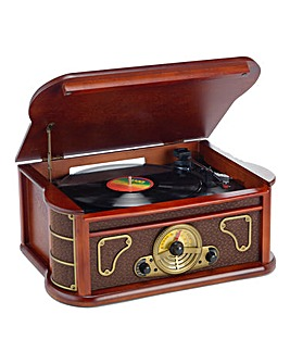 Steepletone Retro Wooden Record Deck