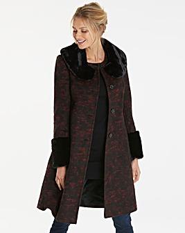 Helene Berman Faux Fur Trim Coat