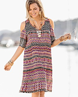 Together Cold Shoulder Beach Dress