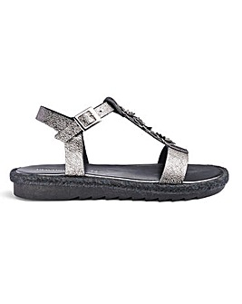 Heavenly Soles Flower Sandals EEE Fit