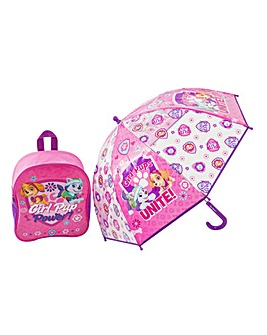Girls Junior Backpack & Bubble Umbrella