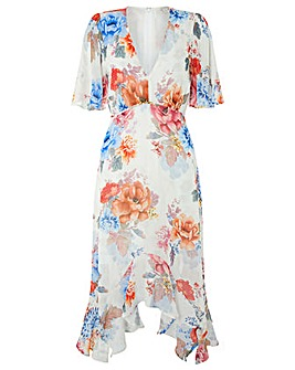 Monsoon Jasmine Print Hanky Hem Dress